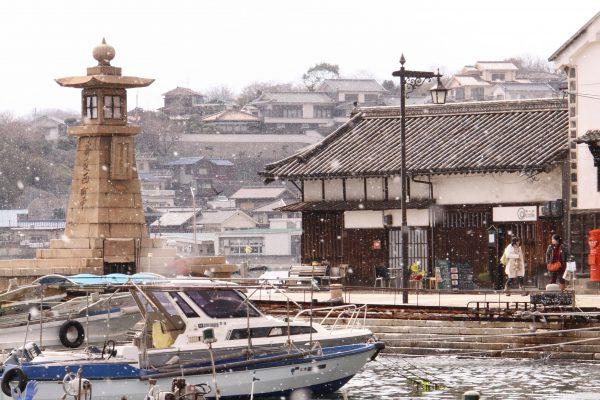 port bateaux neige fukuyama traditionnel historique tourisme japon hiroshima tomonouchi ponyo