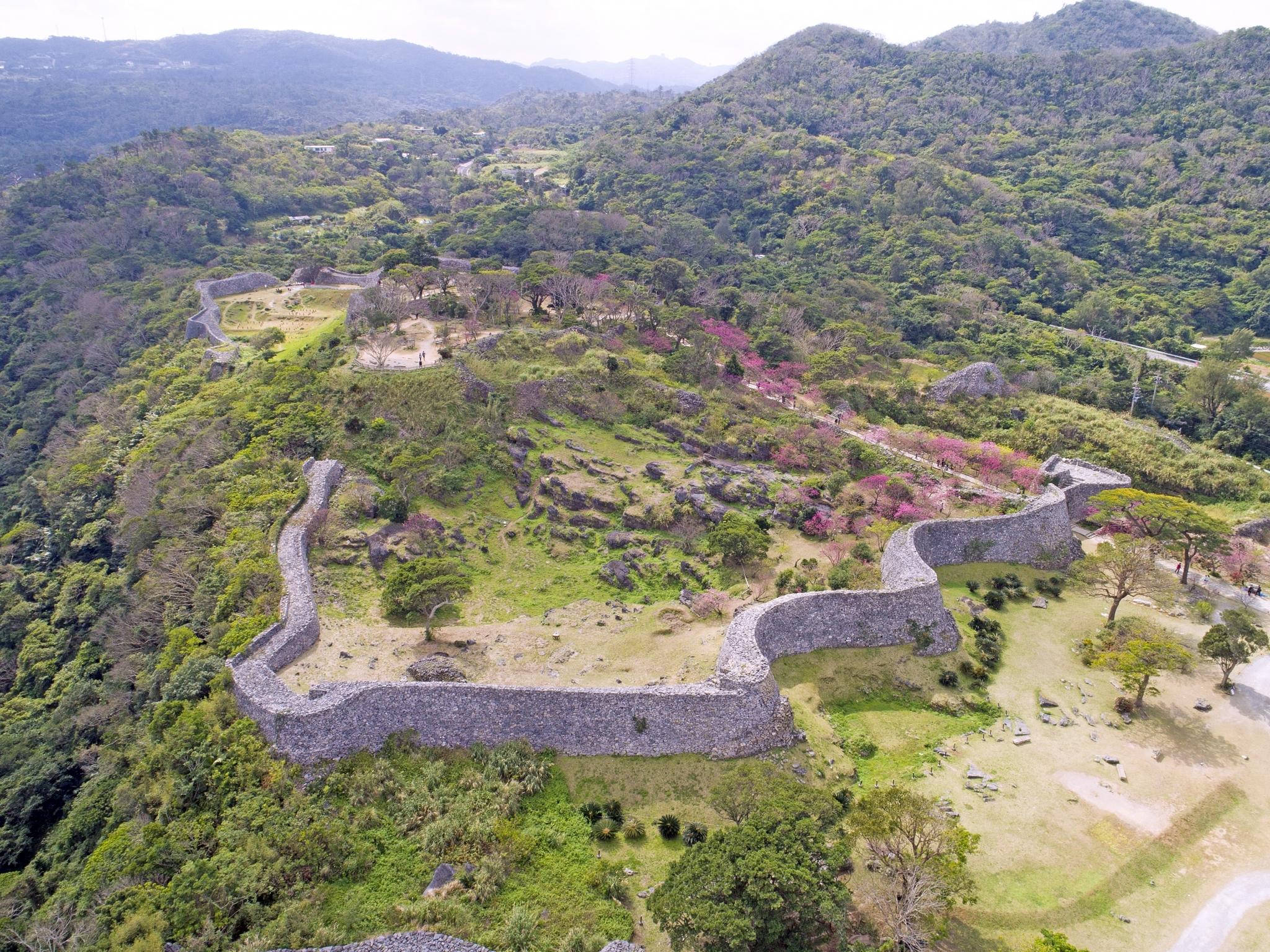voyage japon okinawa nakijin château ruines site historique UNESCO muraille mer de Chine cerisiers sakura point de vue