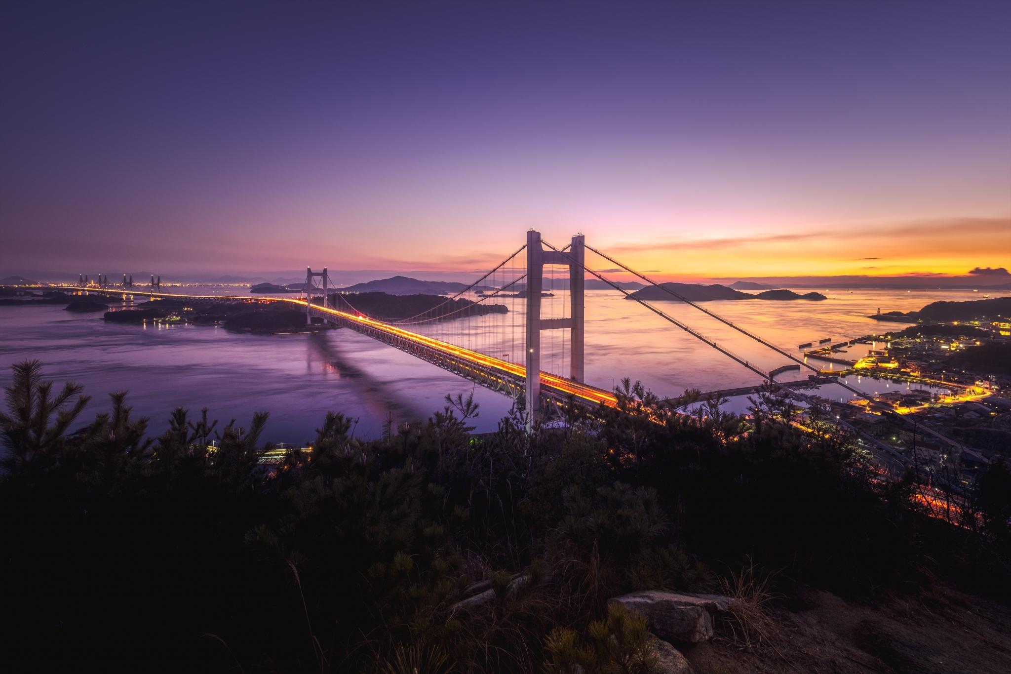 mont washuzan setouchi mer intérieure de Seto vue panoramique pont de Seto par national coucher de soleil nature îlots japon okayama pittoresque kurashiki
